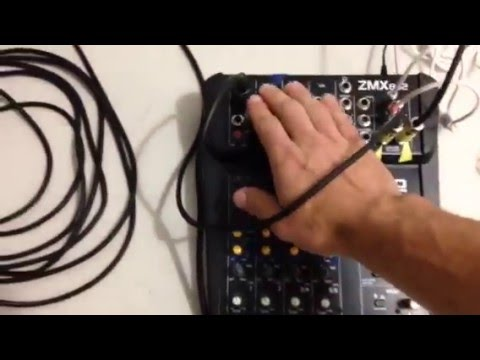 """How to setup two powered 15"""" PA speakers, mixer, and microphone"""